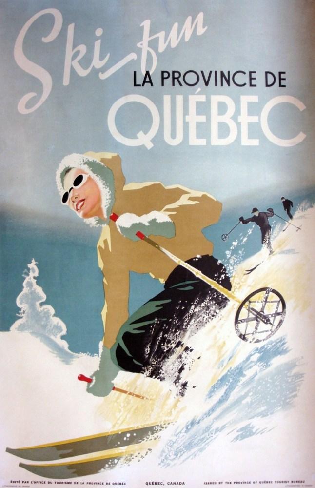 Quebec Vintage Ski Poster