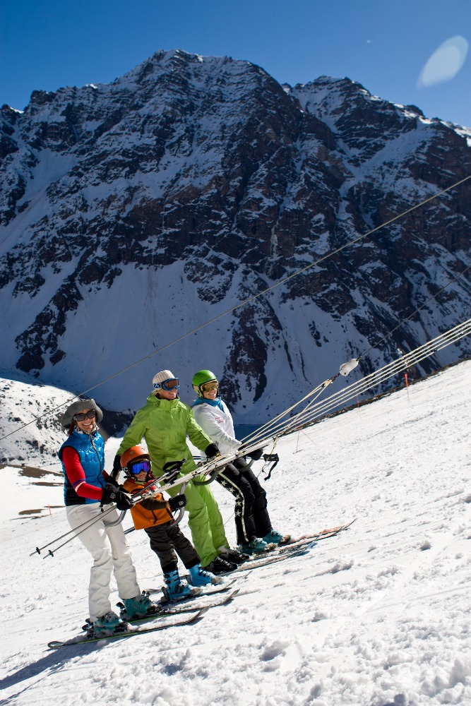 Barbara Sanders and her son Micah skiing at Portillo, Chile on August 30, 2010.