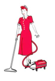 29307 royalty free cartoon clip art of a red haired housewife or maid woman in a long red dress and heels using a canister vacuum to clean the floors by andy nortnik Getting The Perfect Pair Online: Lindsay Phillips