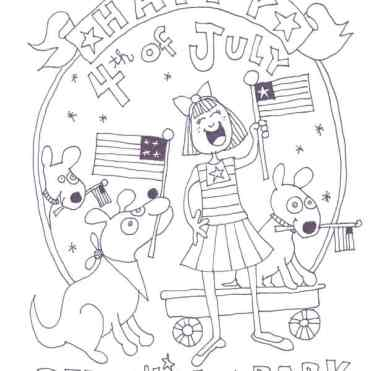 Fourth of July Coloring Page For Dog Lovers