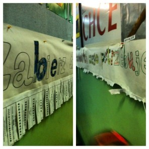 """Banner at school: """"Take what you need for the day"""" Love, forgiveness, mercy were a few of the words."""