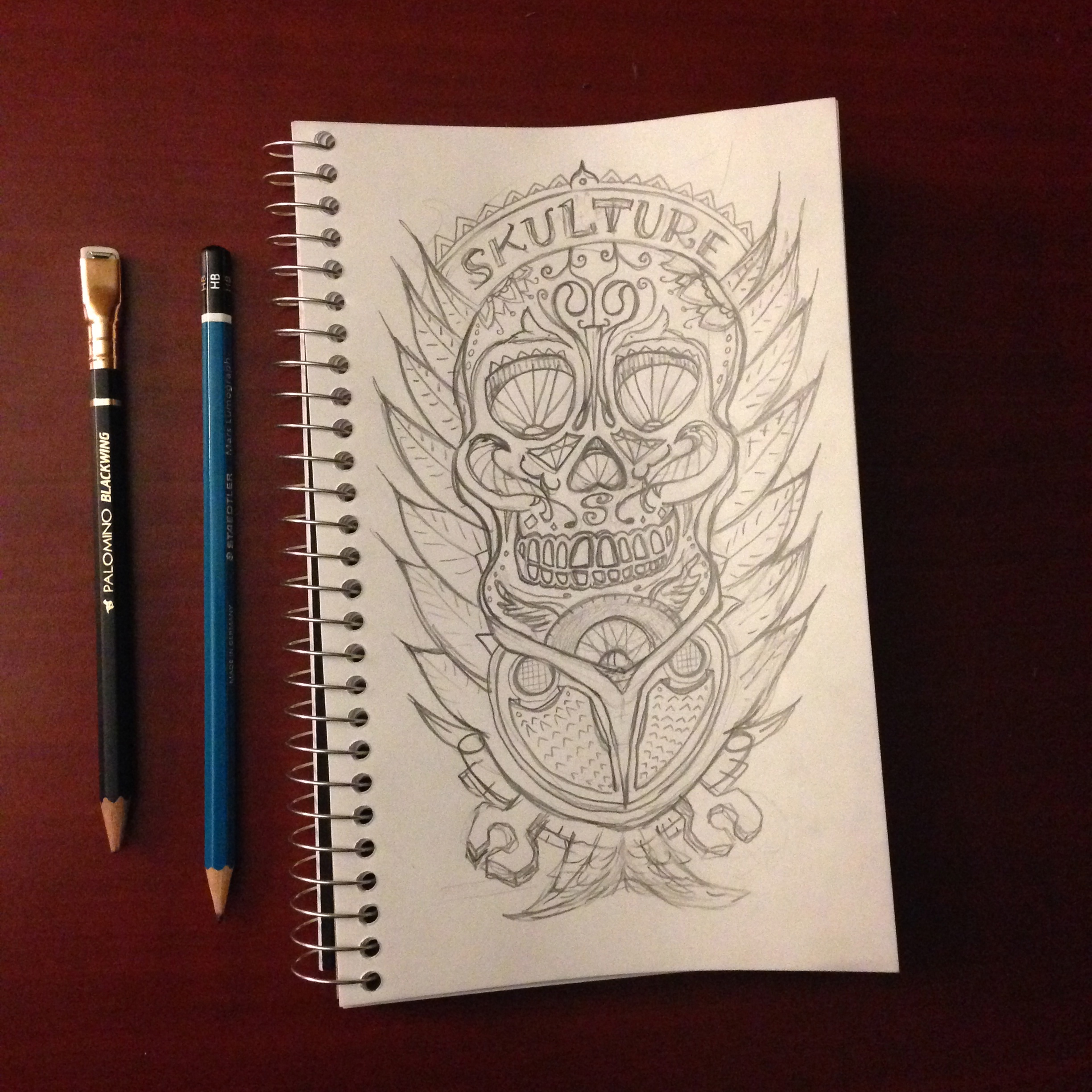 Sketchbook – Skull and Feather Pencil sketch