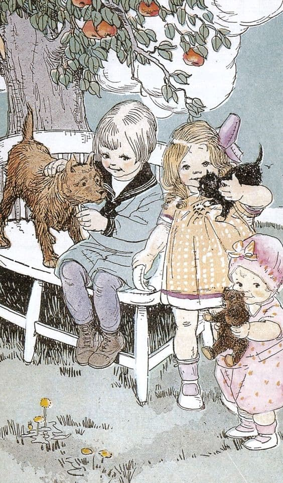 I don't know the source of this illustration, which seems to date from the 1920s. Typically, the boy is associated with the dog; the girl with a cat; the toddler with a stuffed animal.