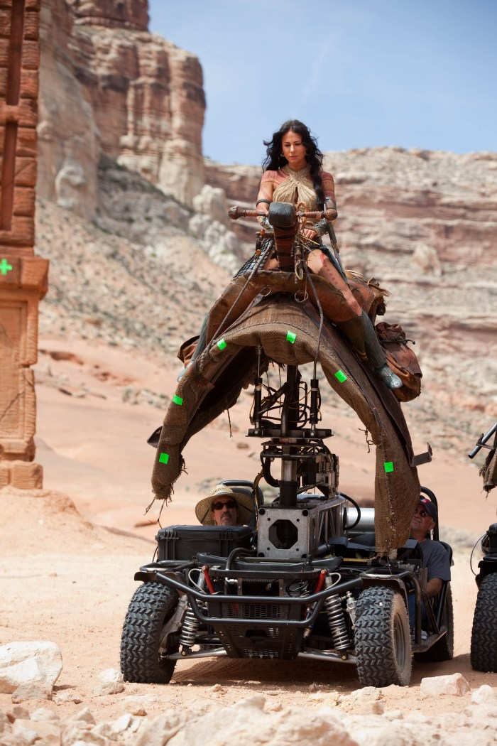Lynn Collins working behind the scenes on John Carter