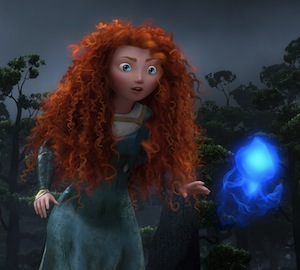 Princess Merida in Brave following Blue Lights