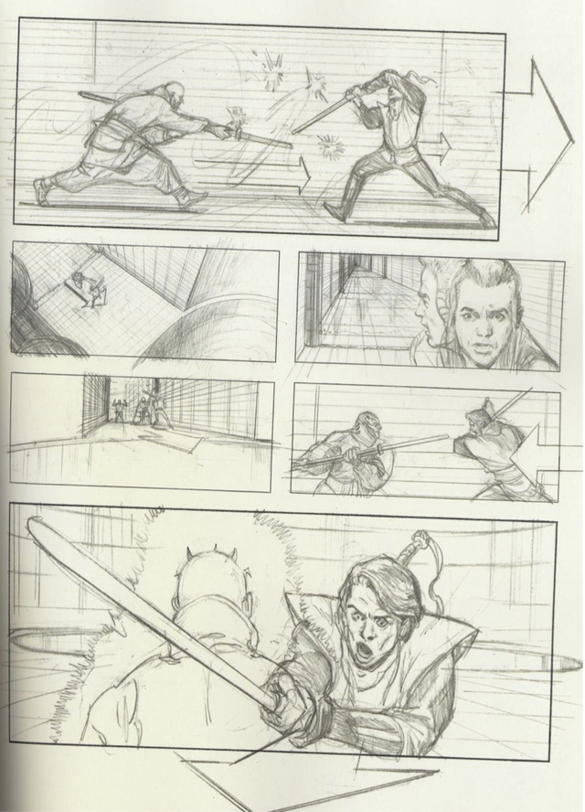 Star Wars Storyboards Prequel Trilogy - Obi Wan, Qui Gon, Darth Maul
