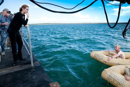 Joe Reidy, Angelina Jolie, and Domnhall Gleeson on Unbroken set