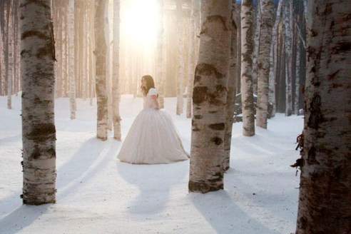 "Lily Collins stands alone in the woods set of ""Snow White,"" September 13, 2011"