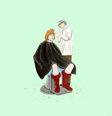 Under The Influence Art Show: Masters of the Universe - He-Man Getting a Haircut by Kiersten Essenpreis
