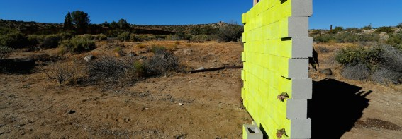 A version of Republican presidential candidate Donald Trump's wall created by artists David Gleeson and Mary Mihelic is pictured next to the U.S. Mexican border in Jacumba Hot Springs