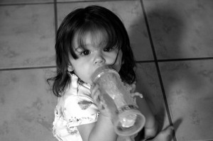 toddler with bottle