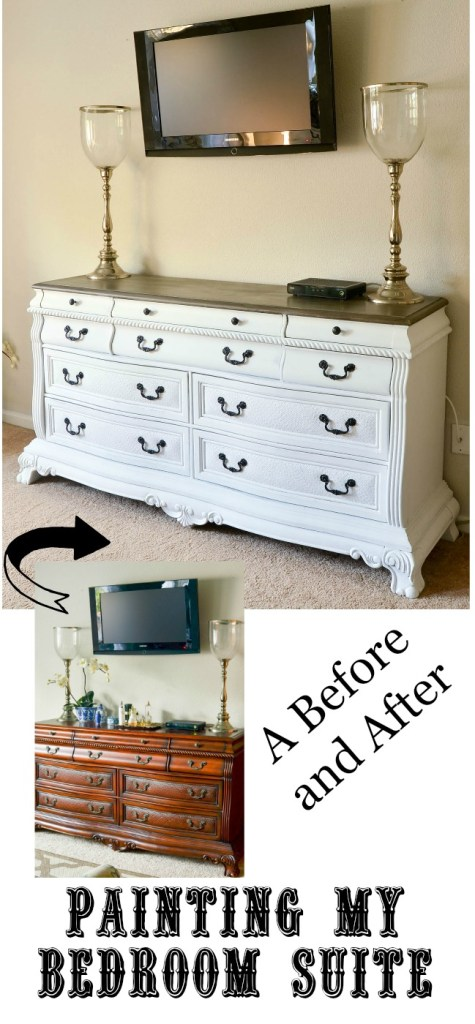 Painting My Bedroom Suite. It took a leap of faith to paint my bedroom suite white including the dresser, night stands, and my husband's dresser but it made such a big difference in the room.
