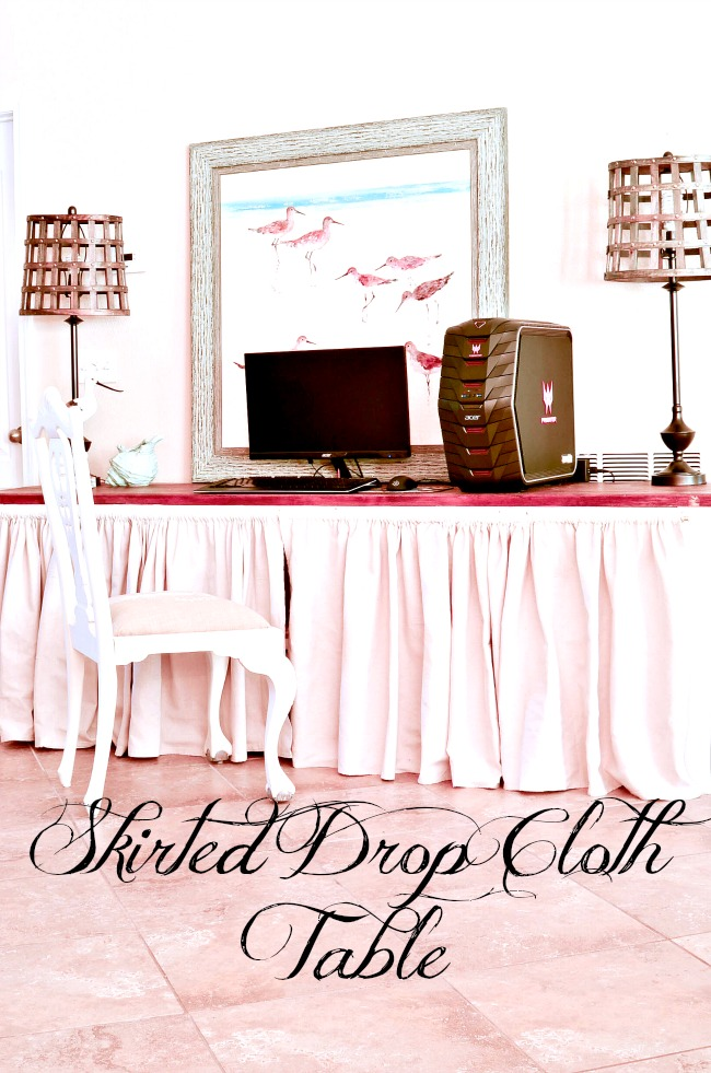 This skirted drop cloth buffet table turned out so pretty and was so inexpensive to make.