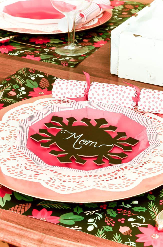A Christmas tablescape using paper plates. A monthly series
