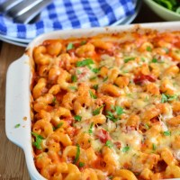Chicken Bacon and Tomato Pasta Bake