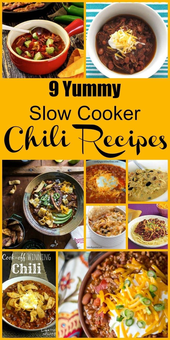 9 Yummy Slow Cooker Chili Recipes! Find this & more deliciousness @ http://www.slowcookerkitchen.com