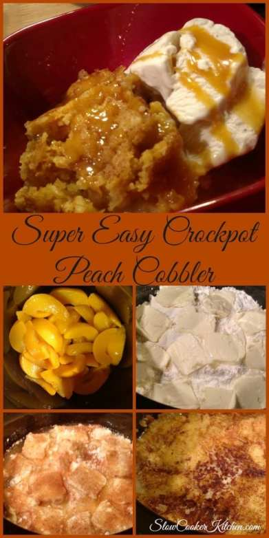 Easy Peach Cobbler Recipe! Find this & more @ http://www.slowcookerkitchen.com
