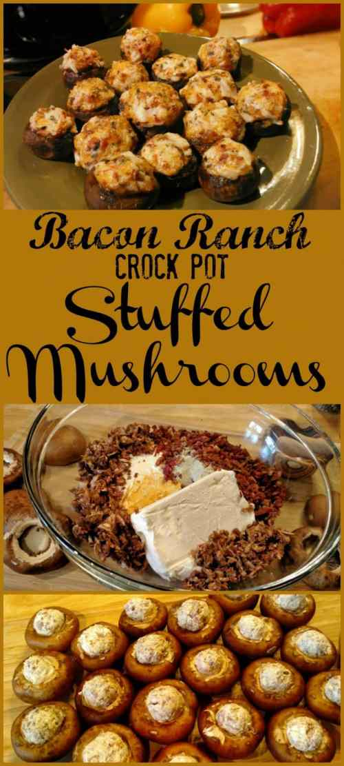 Bacon Ranch Crock Pot Stuffed Mushrooms! Find this & more deliciousness @ http://www.slowcookerkitchen.com