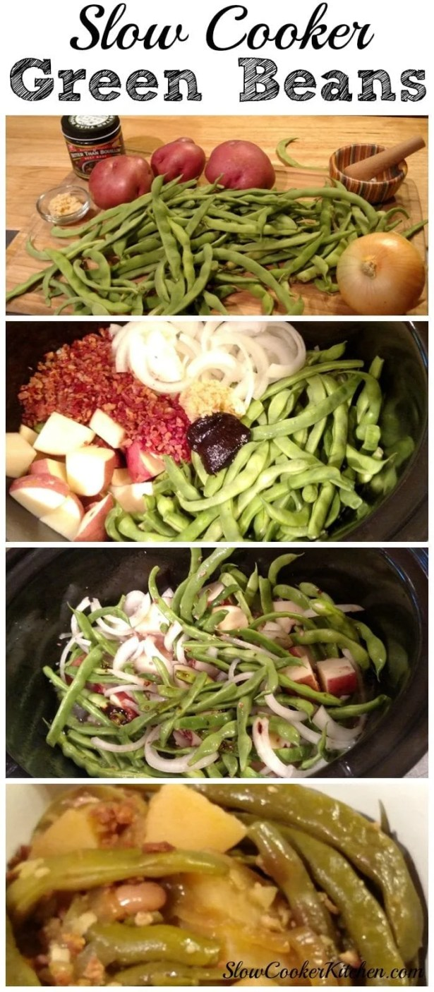 Slow Cooker Green Beans! Find this & more deliciousness @ http://www.slowcookerkitchen.com