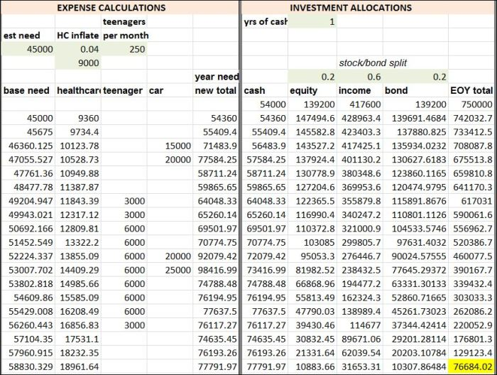 Estimated expenses, and investment allocation