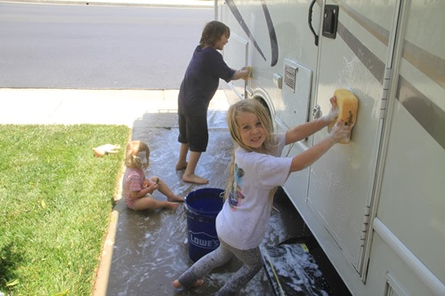 washing the RV