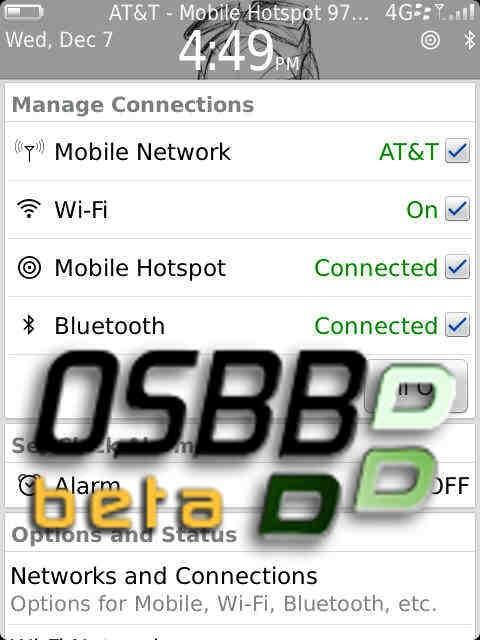 blackberry OS 7.1 hotspot móvil