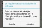 Whatsapp muestra misterioso aviso de actualización