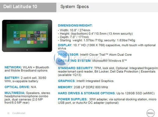 Dell Latitude 10 leak