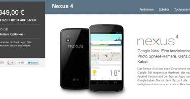 nexus 4 derzeit nicht auf lager screenshot