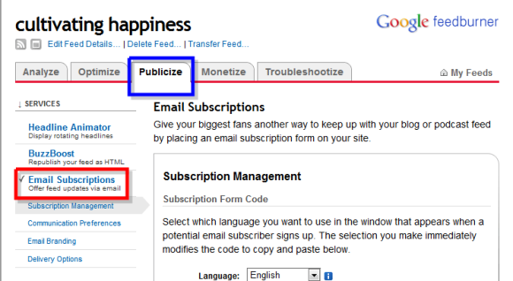 how to add rss email subscription box to website