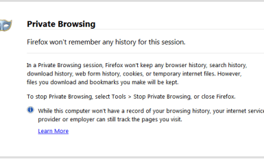 Firefox browsers Private Browsing window