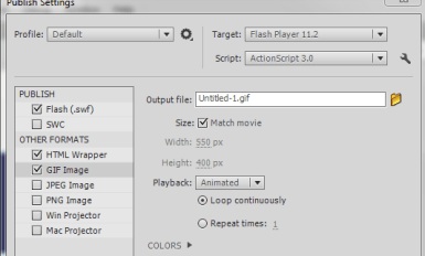 how to convert movieclip into animated gif image in flash