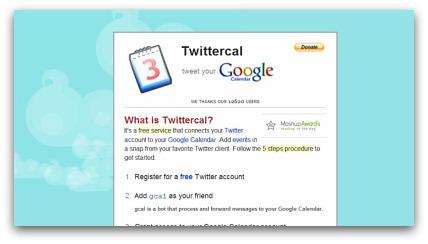 Twittercal tool