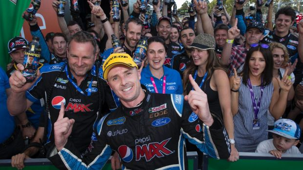 No.1 at last: Mark Winterbottom celebrates the title.