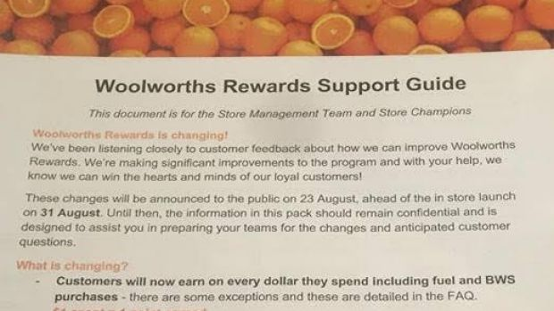 A leaked copy of a Woolworths Rewards Support Guide sent to store managers.