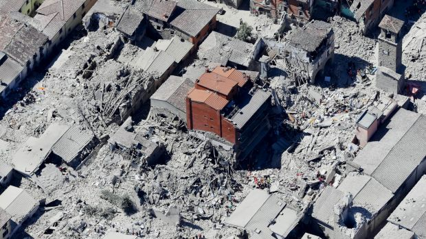 This aerial photo shows the historical part of the town of Amatrice after the earthquake.