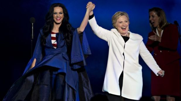 Hillary Clinton wore white when she appeared with her biggest celebrity fan and supporter Katy Perry during a campaign ...