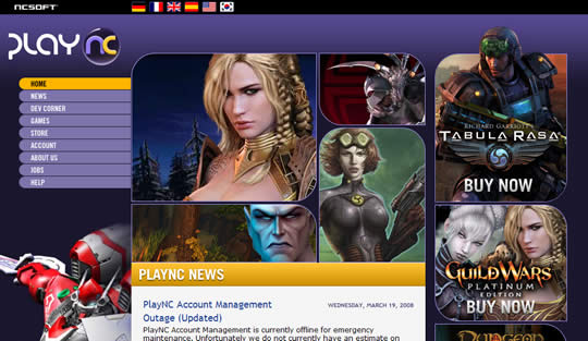 NCsoft PlayNC web site