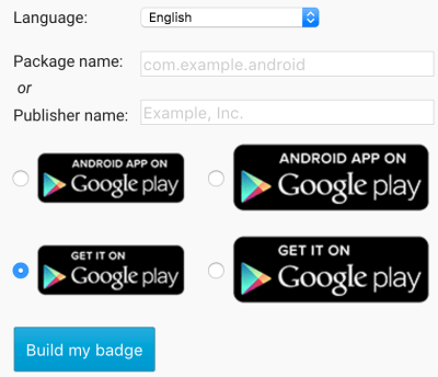 Android developers Play Store online badge generator