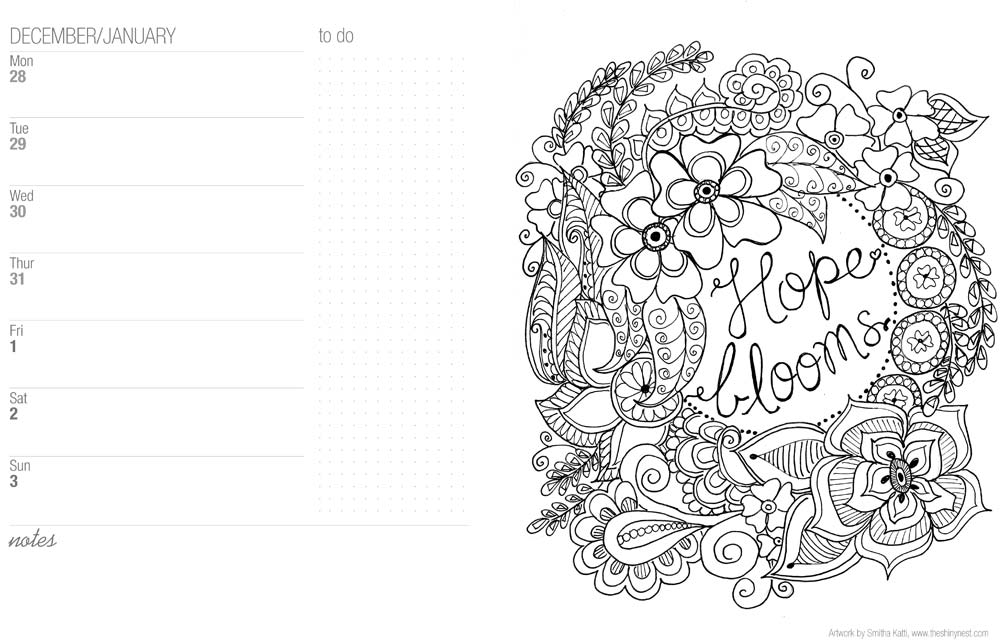 Printable Coloring Calendar 2017 Free : Coloring calendar 2016 and free printable bookmarks to color