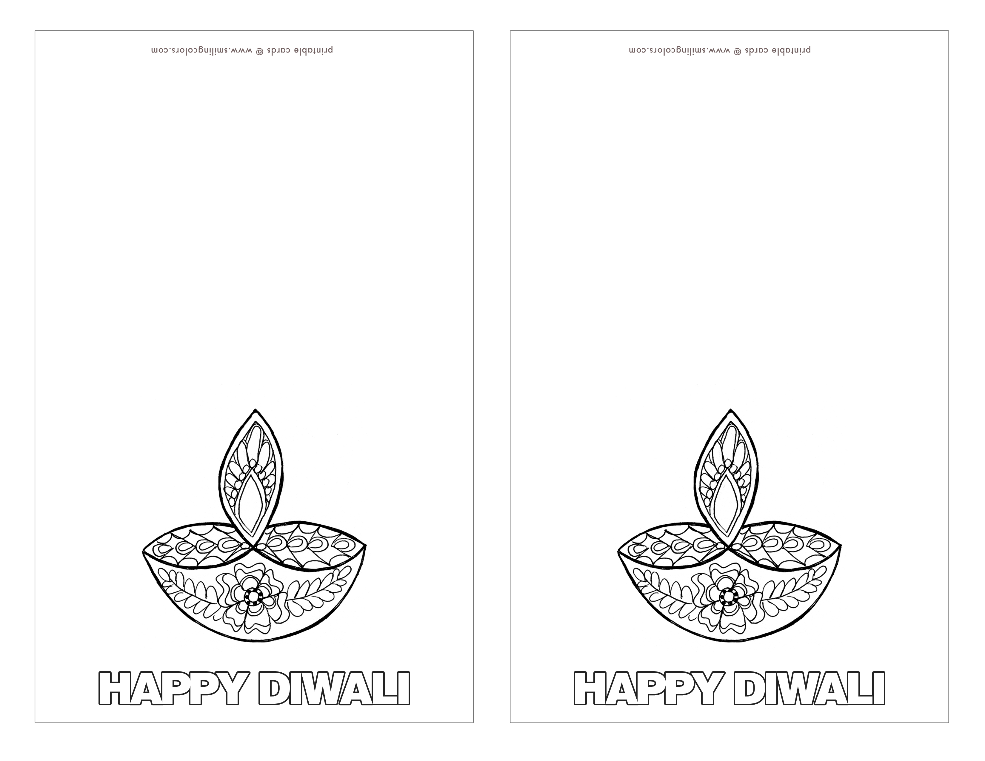 Color cards free - Trim The Cards And Color In The Images Or Have Your Kids Color Them And Have Fun Free_printable_diwali_card_smiling_colors