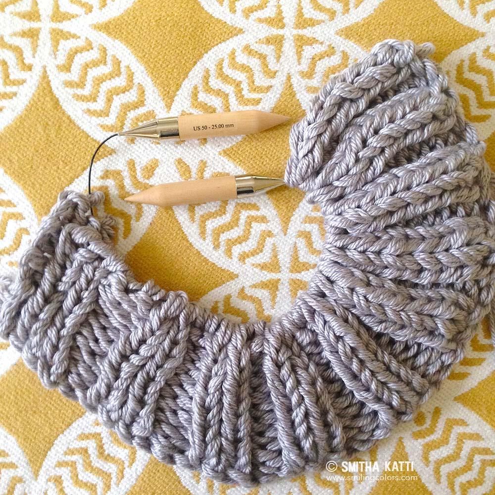 Knitting Stitches Bulky Yarn : Bulky knit blanket free pattern - Smitha Katti
