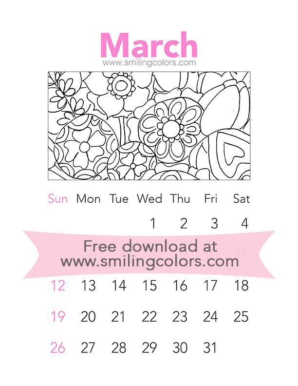 Printable Coloring Calendar 2017 Free : Printable watercolor calendar 2017: march smitha katti