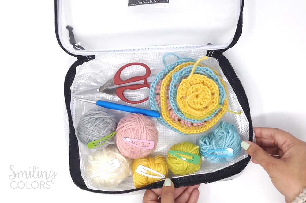Crochet supplies in a bag