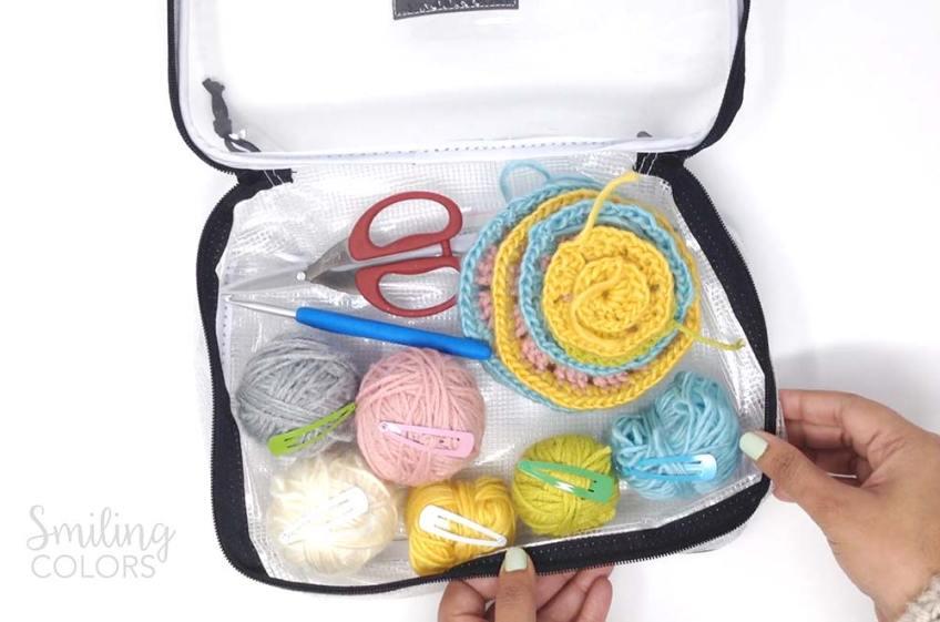Crochet supplies in a bag