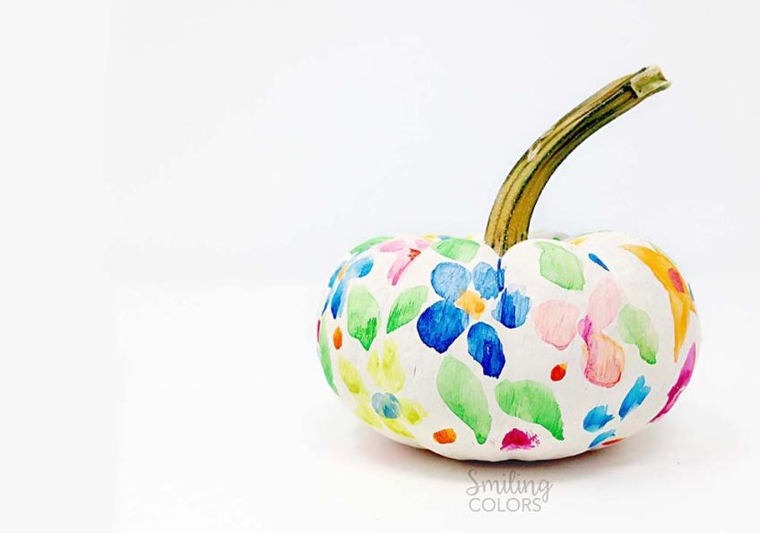 floral painted pumpkin video