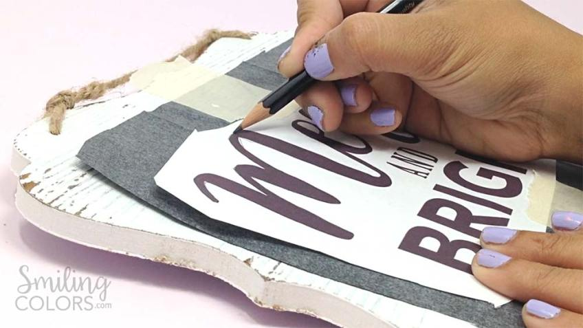 DIY hand lettered wood sign transfer paper