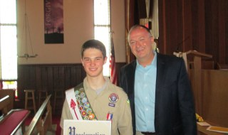 Suffolk County Legislator Robert Trotta presented Eagle Scout Doug Roman with a proclamation recognizing his accomplishments at his Eagle Scout Court of Honor.
