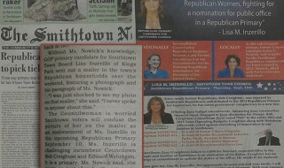 Photo: A scanned copy of the Smithtown News September 3, 2015 paper (Front and Back Cover with excerpt from page 14)