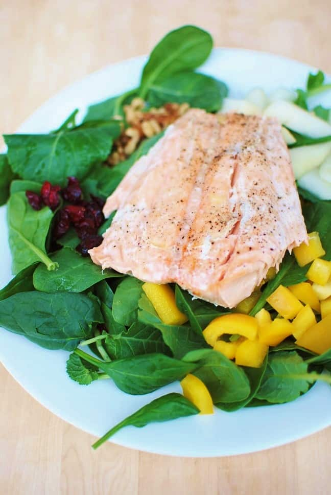 Salmon Salad with Pear, Bell Peppers & Walnuts